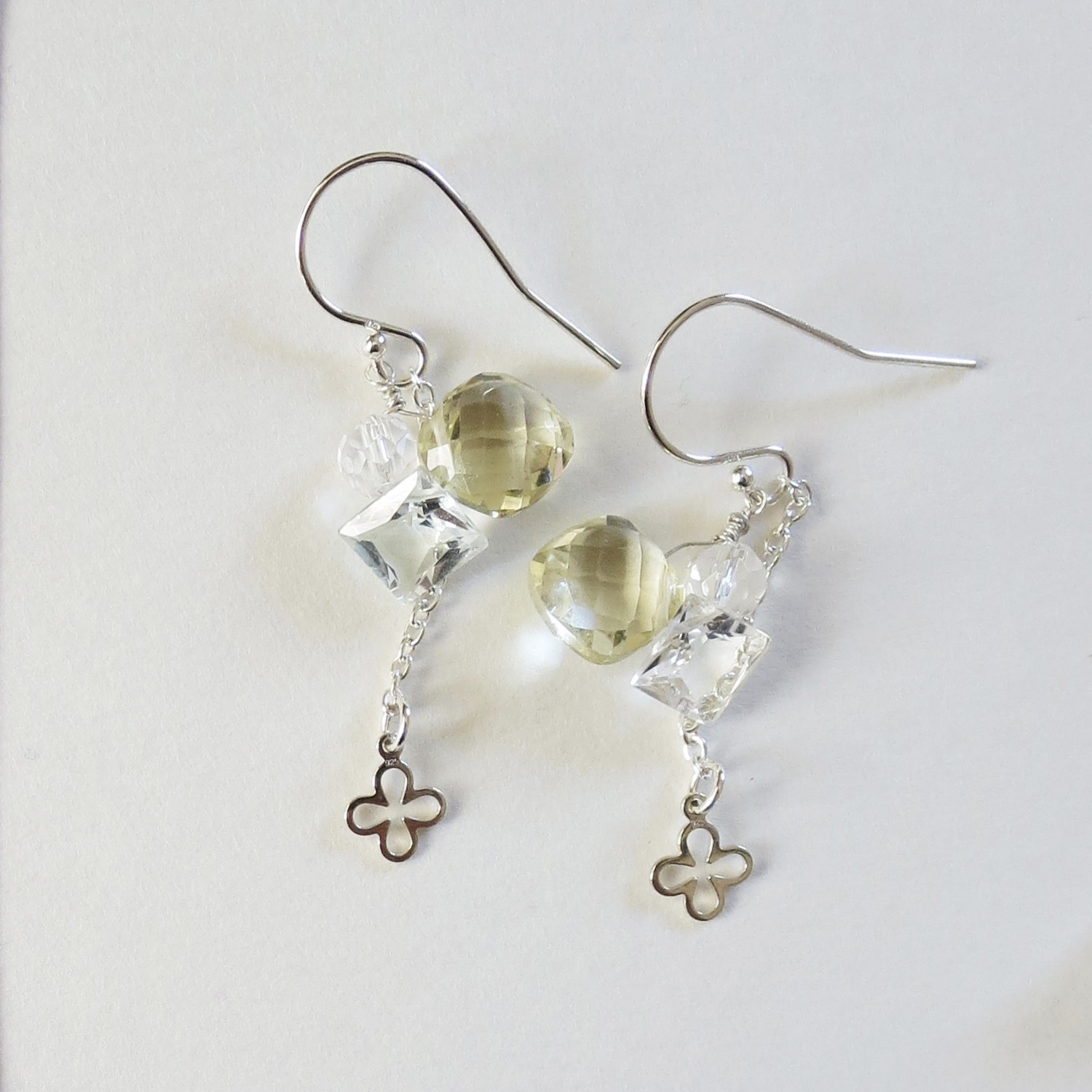 Honey quartz silver earrings